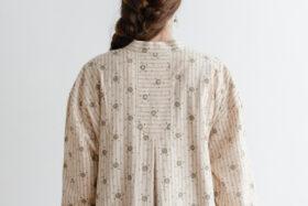 Stripe Khadi Cotton Flower Hand Print Embroidery Wide Coat 5