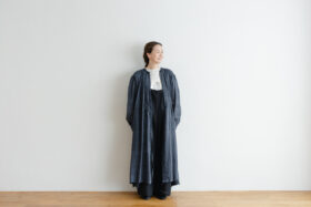 Khadi Cotton Silk Gather Tuck Dress Darkgray 1