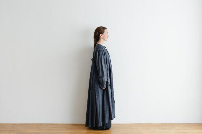 Khadi Cotton Silk Gather Tuck Dress Darkgray 2