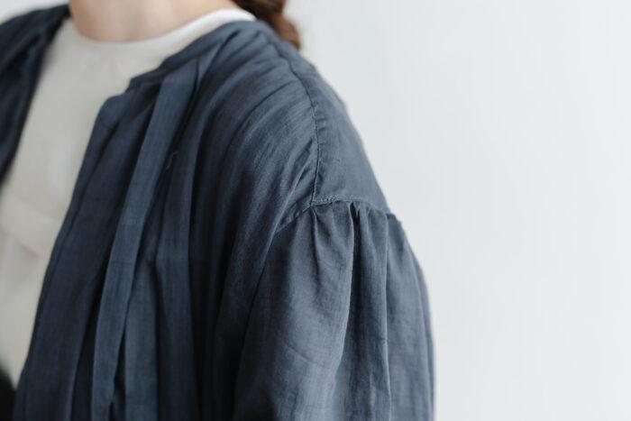 Khadi Cotton Silk Gather Tuck Dress Darkgray 4