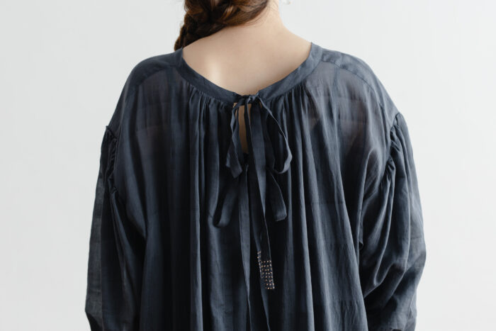 Khadi Cotton Silk Gather Dress Darkgray 5