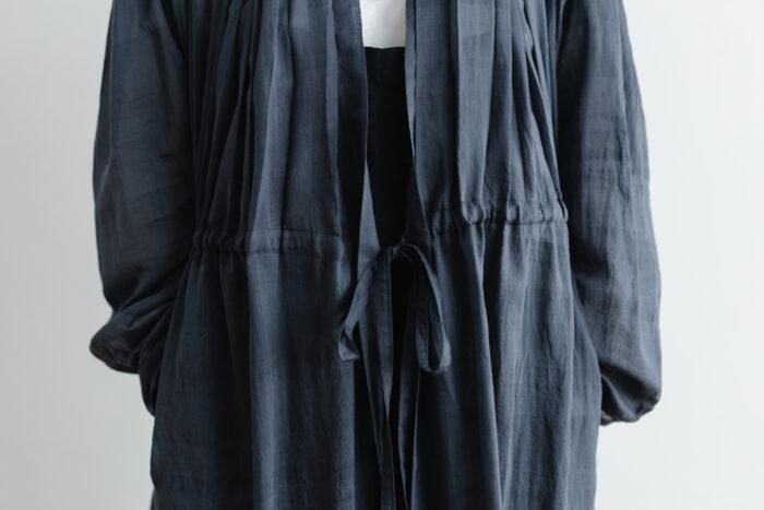 Khadi Cotton Silk Gather Tuck Dress Darkgray 5