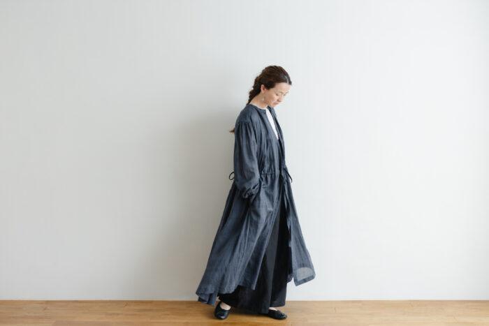 Khadi Cotton Silk Gather Tuck Dress Darkgray 6