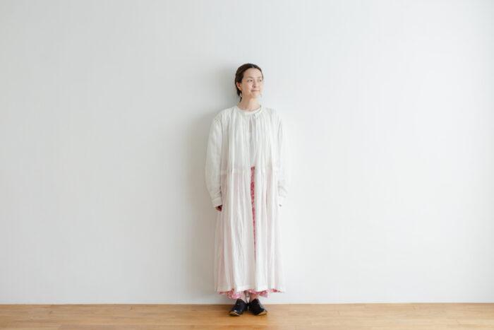 Khadi Cotton Silk Gather Tuck Dress offwhite 1