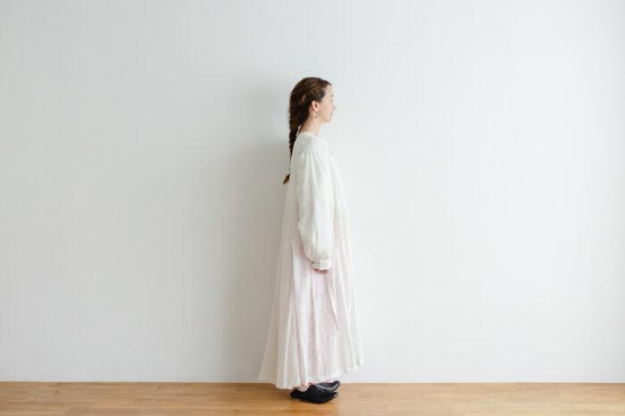 Khadi Cotton Silk Gather Tuck Dress offwhite 2
