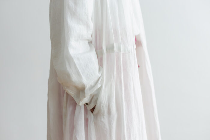 Khadi Cotton Silk Gather Tuck Dress offwhite 4