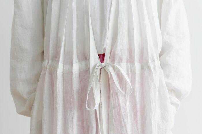 Khadi Cotton Silk Gather Tuck Dress offwhite 5