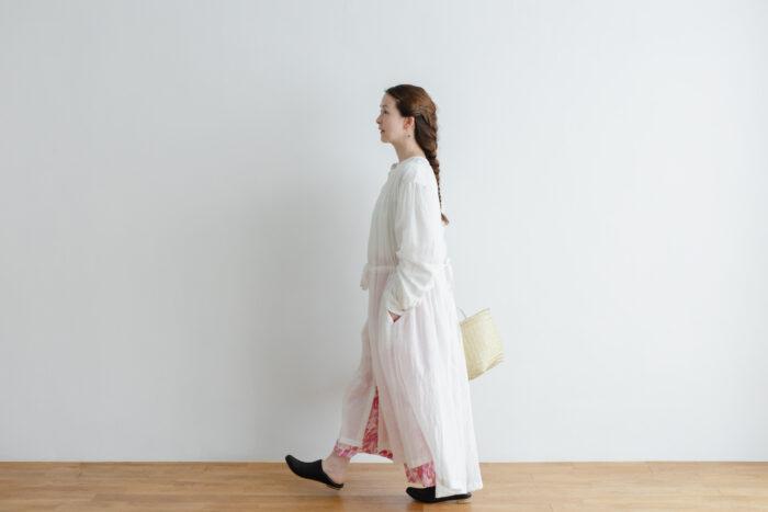 Khadi Cotton Silk Gather Tuck Dress offwhite 6