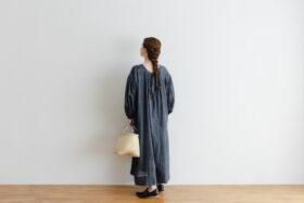 Khadi Cotton Silk Gather Dress Darkgray 6