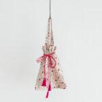 Khadi Silk All Embroidery  Drawstring Bag  natural pink