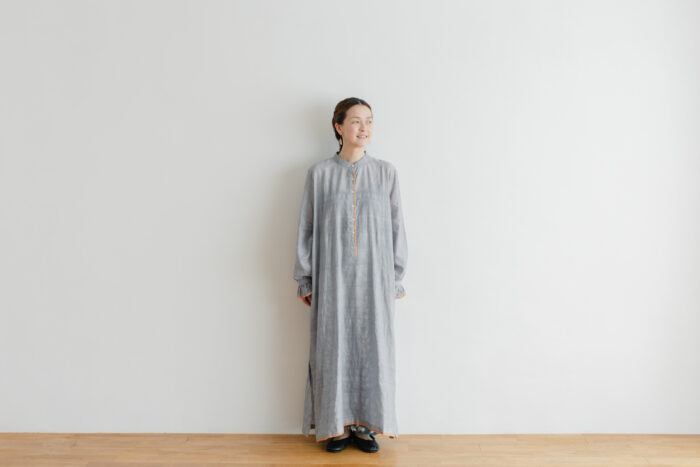 Khadi Cotton Silk Embroidery Dress Charcoal 1