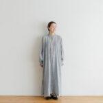 Khadi Cotton Silk Embroidery Dress Charcoal
