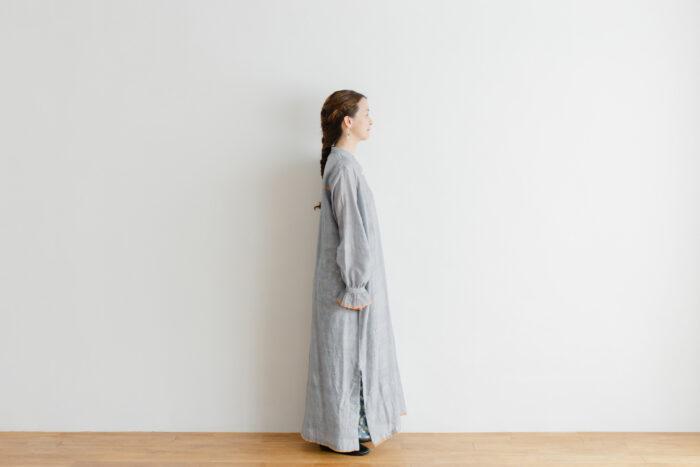 Khadi Cotton Silk Embroidery Dress Charcoal 2