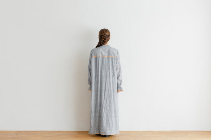 Khadi Cotton Silk Embroidery Dress Charcoal 3