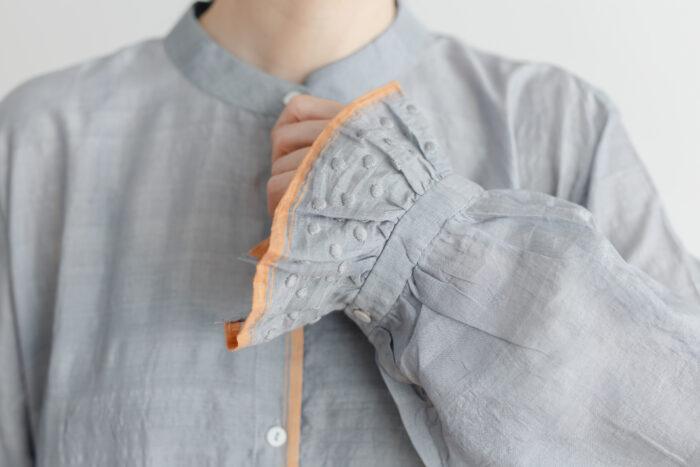 Khadi Cotton Silk Embroidery Dress Charcoal 4