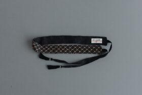 Khadi Linen Cotton Ramdan Dots Hand Print Embroidery Ribbon Belt   Black 1