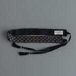 Khadi Linen Cotton Ramdan Dots Hand Print Embroidery Ribbon Belt   Black