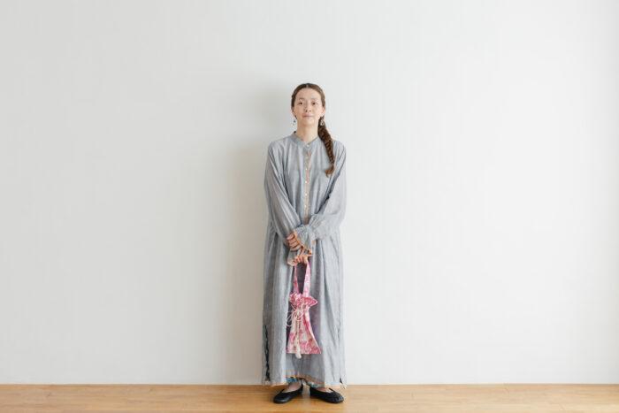 Khadi Cotton Silk Embroidery Dress Charcoal 6
