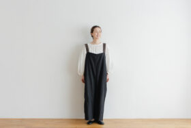 Khadi Linen Cotton Ramdan Dots Hand Print Embroidery Overalls   Black 1