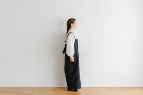 Khadi Linen Cotton Ramdan Dots Hand Print Embroidery Overalls   Black 2