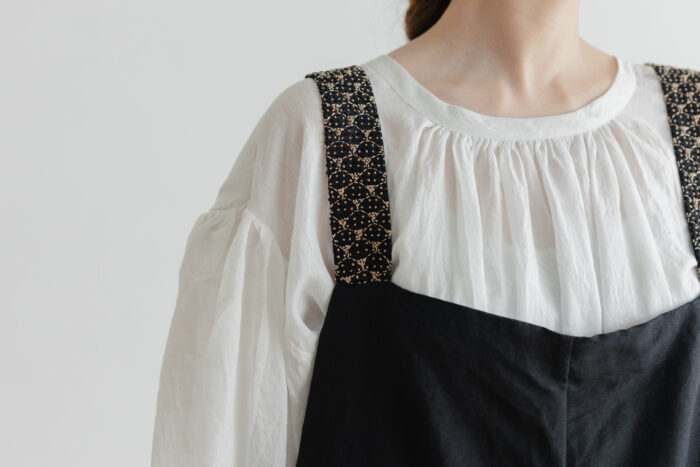 Khadi Linen Cotton Ramdan Dots Hand Print Embroidery Overalls   Black 4