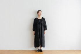 Khadi Silk Back Button Dress   Black 1