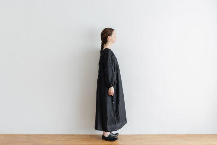 Khadi Silk Back Button Dress   Black 2