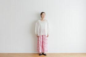 Khadi Cotton Silk Flamingo Hand Print  Tuck Pants 1