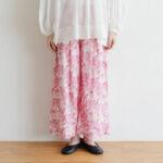 Khadi Cotton Silk Flamingo Hand Print  Tuck Pants
