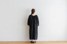 Khadi Silk Back Button Dress   Black 3