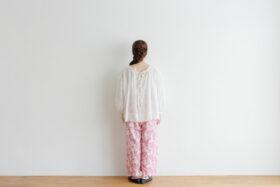 Khadi Cotton Silk Flamingo Hand Print  Tuck Pants 3