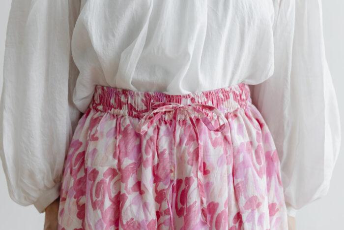 Khadi Cotton Silk Flamingo Hand Print  Tuck Pants 4