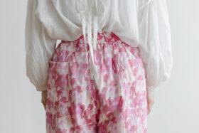 Khadi Cotton Silk Flamingo Hand Print  Tuck Pants 5