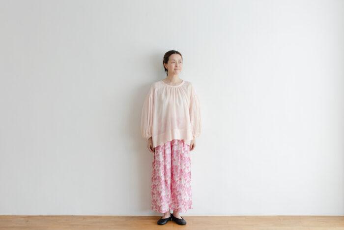 Khadi Cotton Silk Gather Blouse nude pink 1