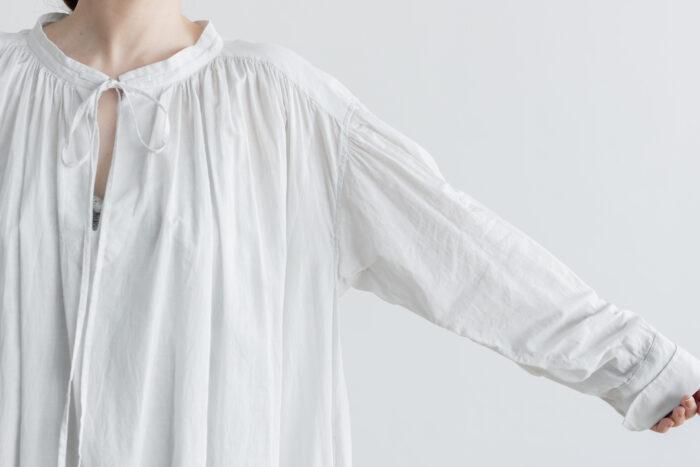 白く透ける玉  ギャザーチュニック antique white 4