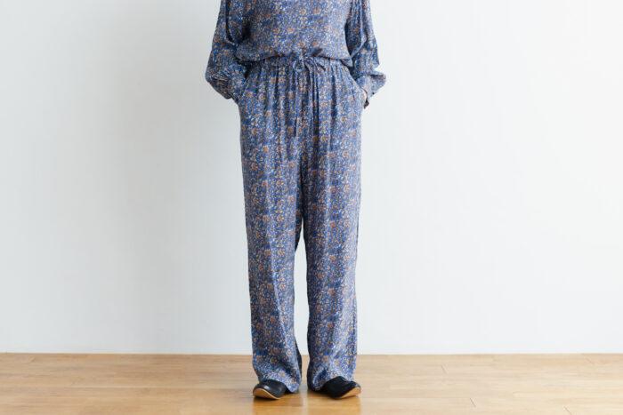 予約 R040 FLORAL PAJAMAS PANTS blue 1