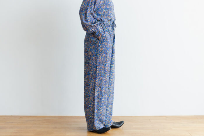 予約 R040 FLORAL PAJAMAS PANTS blue 2