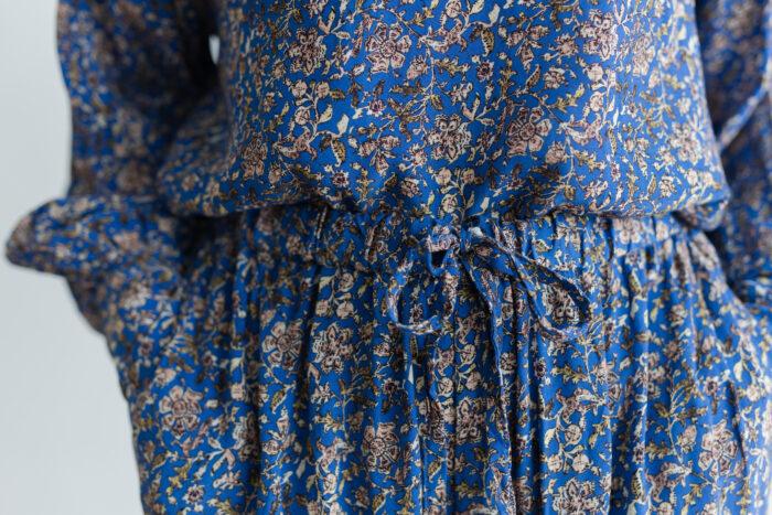 予約 R040 FLORAL PAJAMAS PANTS blue 4