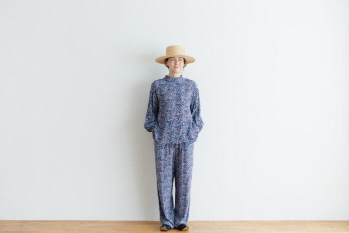 予約 R040 FLORAL PAJAMAS PANTS blue 5