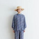 予約 R039 FLORAL STAND COLLAR PULLOVER blue