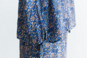 予約 R039 FLORAL STAND COLLAR PULLOVER blue 4