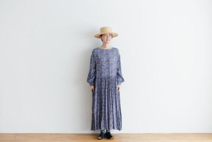 予約 R037 FLORAL DRESS blue 1