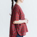 C/S PULLOVER SHIRT red tartan