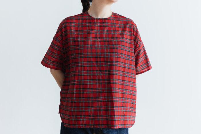 C/S PULLOVER SHIRT red tartan 1