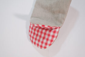No.5375 OVEN MITTON flax ×red 2