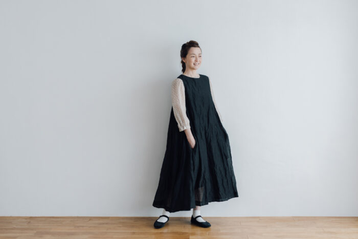 STEEL LINEN PULLOVER DRESS black 6