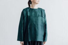 Khadi Silk Back Button Sailor Blouse green 1