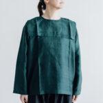 Khadi Silk Back Button Sailor Blouse green