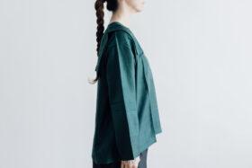 Khadi Silk Back Button Sailor Blouse green 2