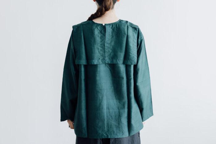 Khadi Silk Back Button Sailor Blouse green 3